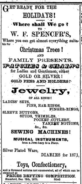 W. F. Spencer, 1870 advertisement