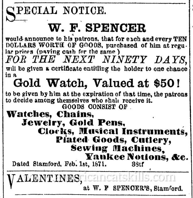 W. F. Spencer, 1871 advertisement