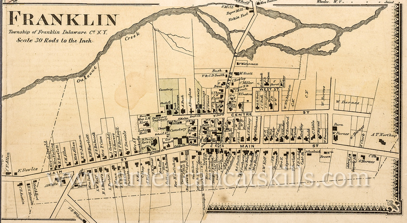 Map of the Franklin business district in 1869.