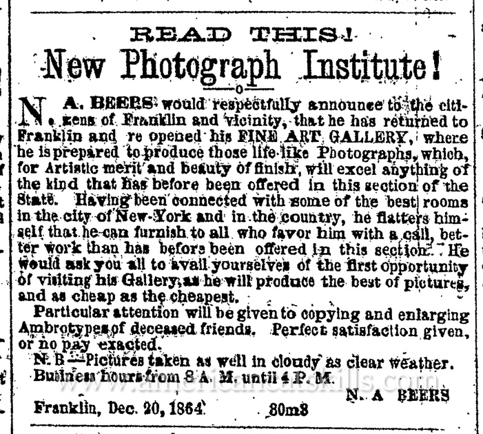 N. A. Beers, photographer advertisement