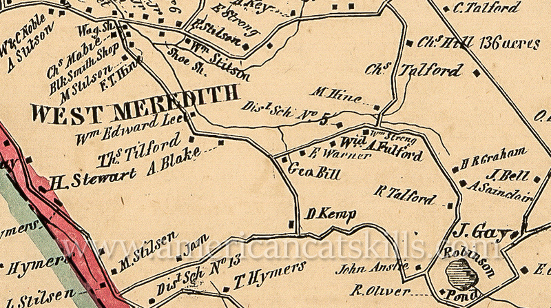 Map of the Miles Hine, father of Burton Hine, homestead at Meredith in 1856.