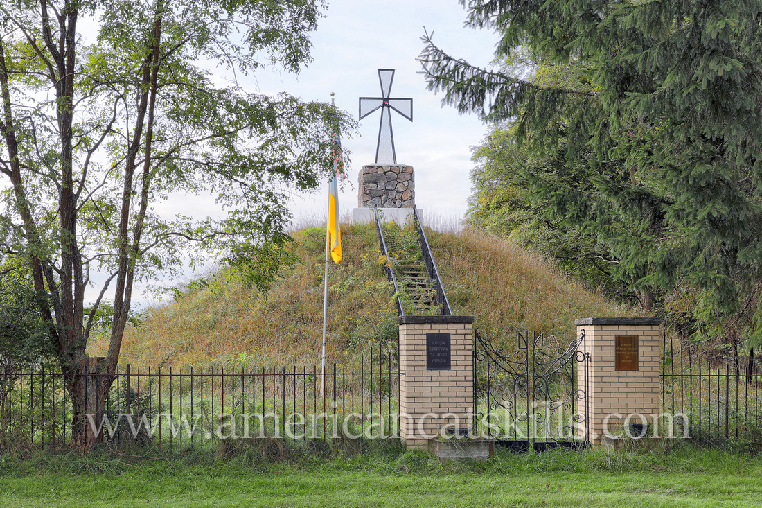 The symbolic mohyla (mound), located across the road from St. Volodymyr Church in Glen Spey, honors those who fought from the freedom of Ukraine.