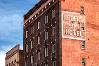 The brick, neo-classical Rogers Hotel building in located in downtown Wheeling, West Virginia.