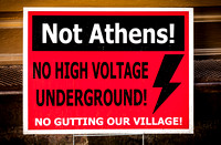 Sign in Athens, New York protesting the construction of high voltage power lines in the village.